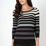 Petite grey multi striped jumper