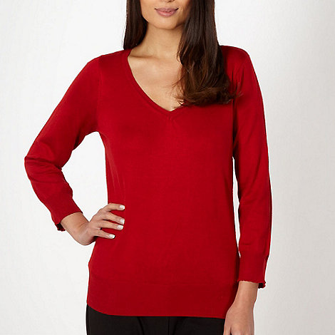 The Collection Petite - Petite red plain V neck jumper