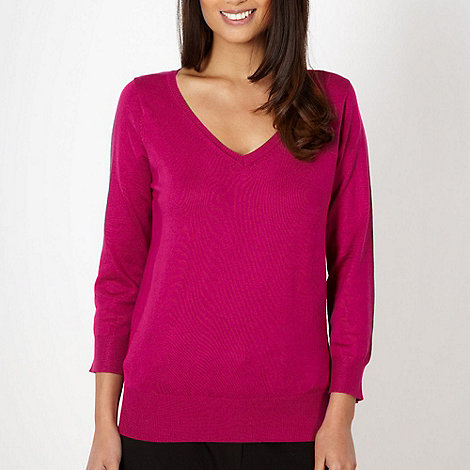 The Collection - Dark pink plain V neck jumper