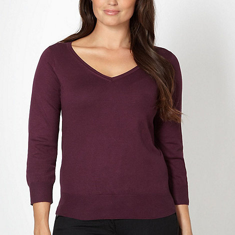 The Collection Petite - Petite purple plain v neck jumper