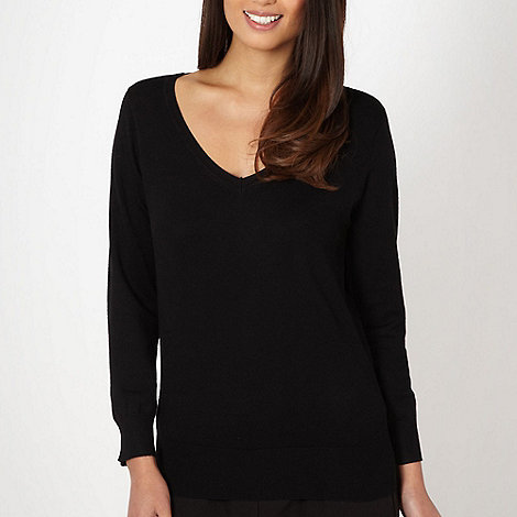 The Collection - Black plain V neck jumper