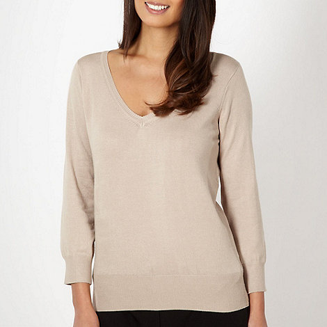 The Collection - Natural plain V neck jumper