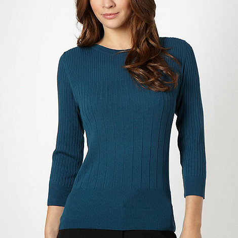 The Collection - Dark turquoise ribbed jumper