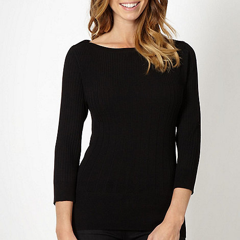 The Collection - Black textured striped jumper