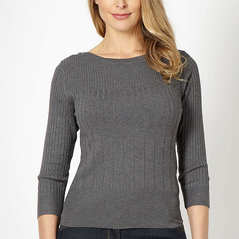 The Collection Petite - Petite dark grey ribbed jumper