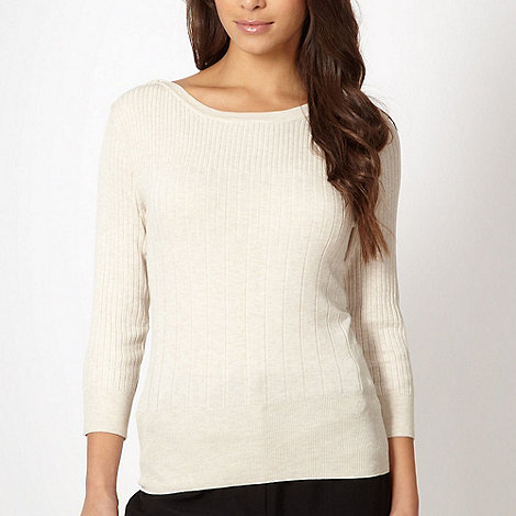 The Collection - Natural ribbed button shoulder jumper