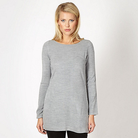The Collection - Pale grey ribbed front tunic dress