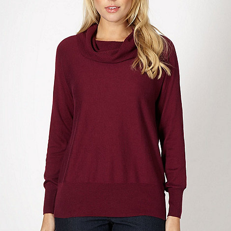 The Collection - Plum moss stitched cowl neck jumper