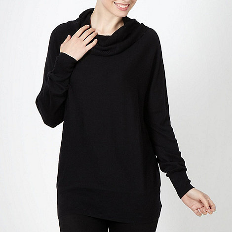 The Collection - Black textured cowl neck jumper