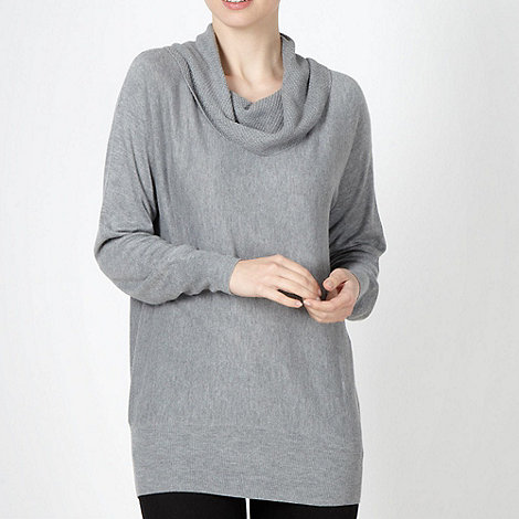The Collection - Pale grey textured cowl neck jumper