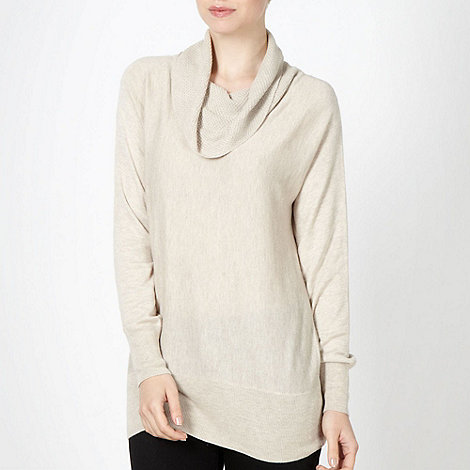 The Collection - Natural textured cowl neck jumper