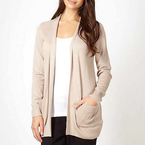 The Collection - Beige ribbed shoulder cardigan