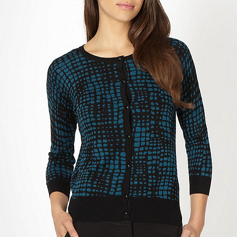 The Collection - Dark turquoise square printed cardigan