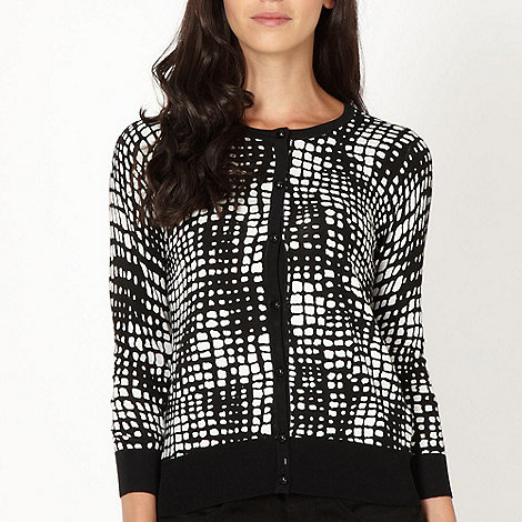 The Collection - Black square printed cardigan