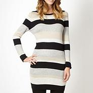 Petite natural striped knit tunic