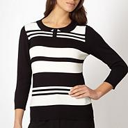 Petite black striped collar jumper
