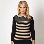 Camel striped collar top
