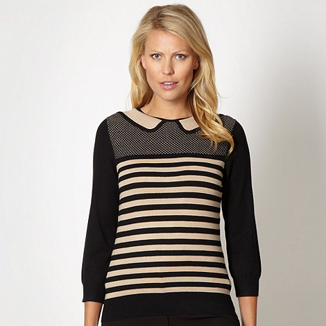The Collection Petite - Petite camel striped collar top