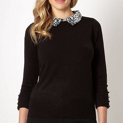 The Collection - Black animal collar jumper