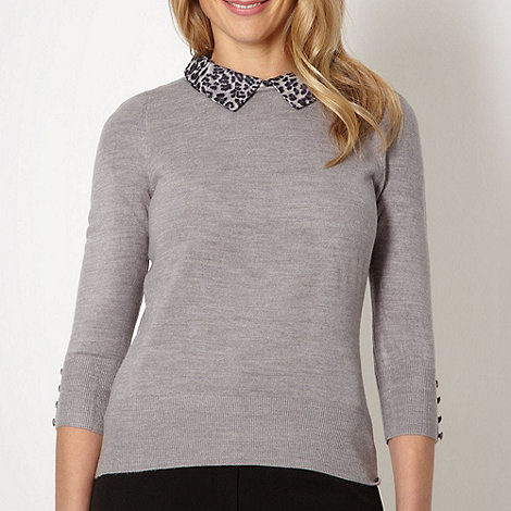 The Collection - Light grey animal collar jumper
