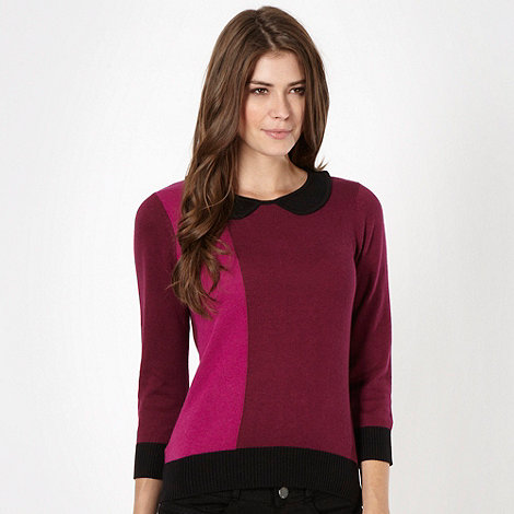 The Collection - Plum colour block knit top