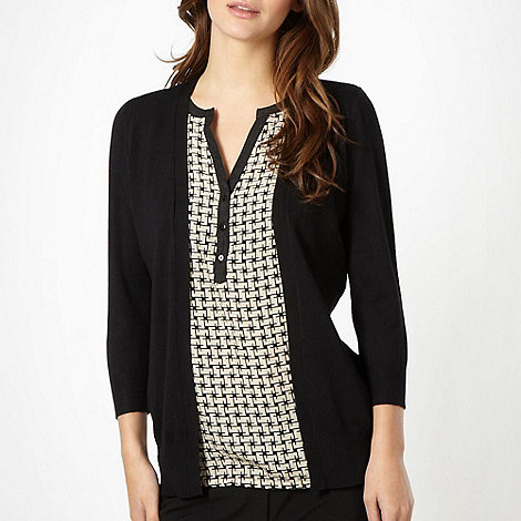 The Collection - Black 2-in-1 geometric top and cardigan