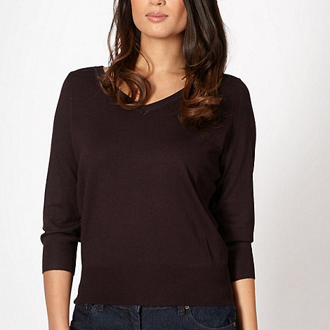 The Collection - Chocolate V neck jumper