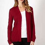 Petite red ribbed edge to edge cardigan