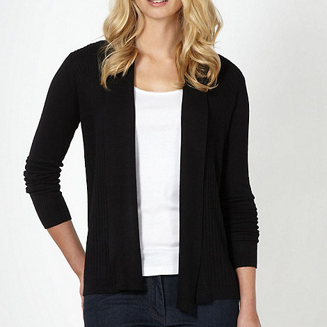 The Collection Petite - Petite black ribbed edge to edge cardigan