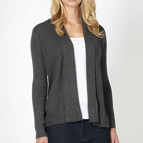 The Collection - Dark grey ribbed edge to edge cardigan