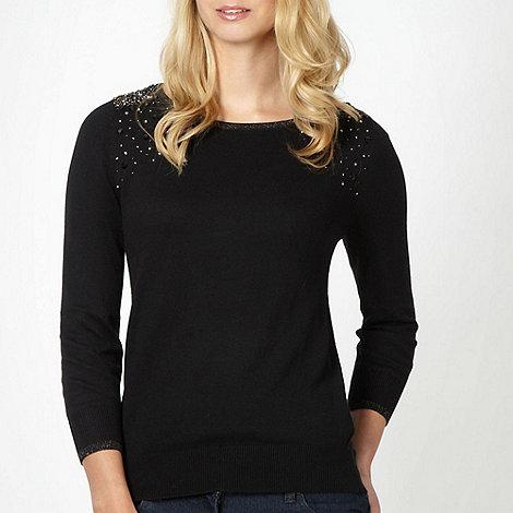 The Collection Petite - Petite black embellished shoulder jumper