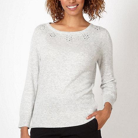The Collection Petite - Petite grey embellished neckline jumper