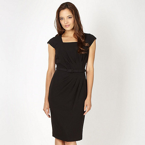 The Collection - Black asymmetric tuck detail work dress