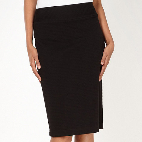 The Collection Petite - Petite black ribbed skirt