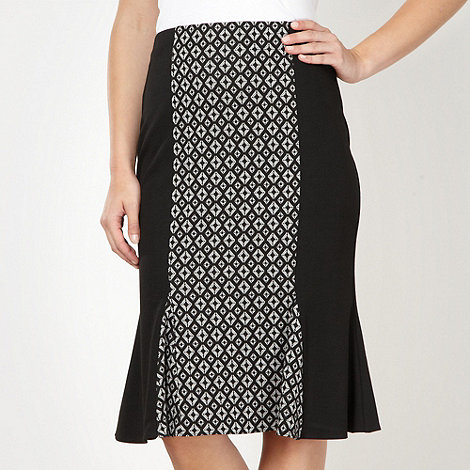 The Collection - Black geometric panel fluted hem skirt