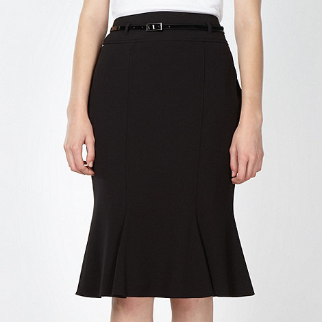 The Collection - Black fluted crepe skirt
