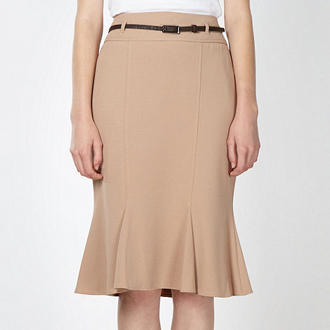 The Collection - Camel fluted crepe skirt