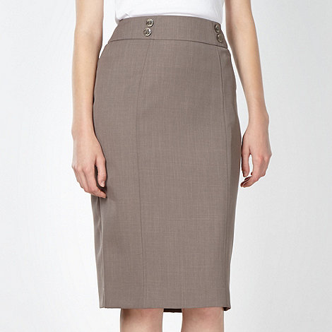 The Collection Petite - Petite taupe button waist suit skirt