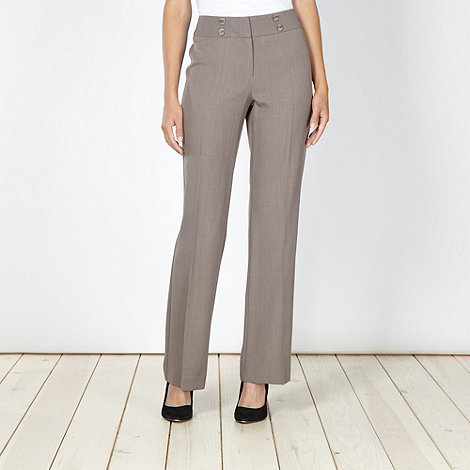 The Collection Petite - Petite taupe crease front suit trousers