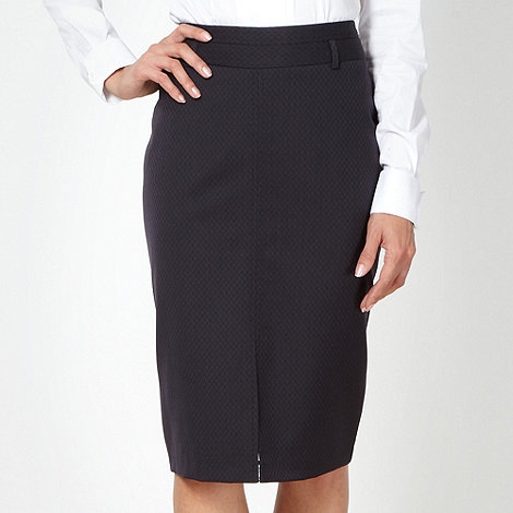 The Collection - Navy jacquard work skirt