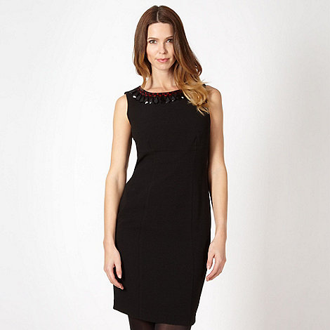 The Collection - Black beaded neck crepe dress