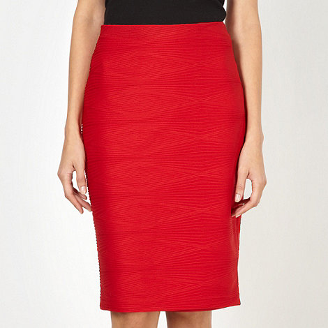 The Collection - Red ribbed diamond jersey skirt