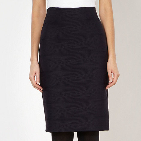 The Collection - Black wave ribbed jersey midi skirt