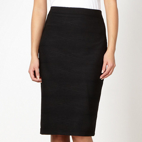 The Collection Petite - Petite black diamond ridged skirt