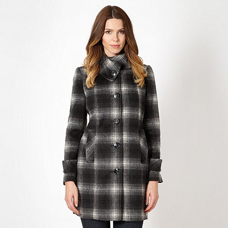 The Collection - Black checked split collar coat