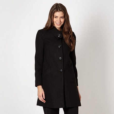 The Collection Petite - Petite black button plain coat