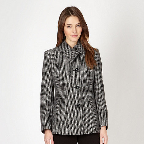 The Collection - Dark grey herringbone coat