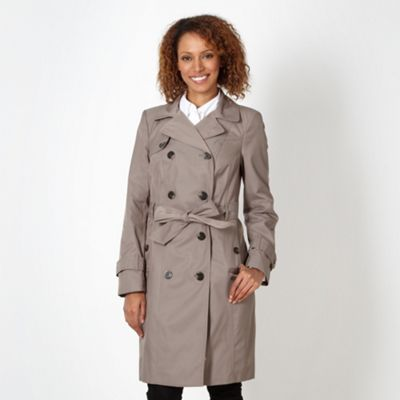 Taupe double breasted trench coat