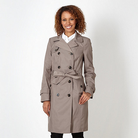The Collection Petite - Petite taupe double breasted trench coat