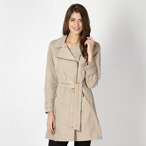 The Collection - Beige side zip belted waist mac